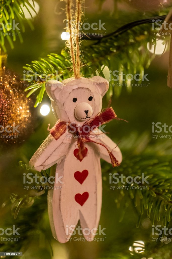 White Wooden Bear Shaped Christmas Tree Decoration Stock Photo Download Image Now Istock