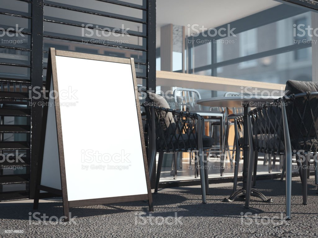 White wooden board for restaurant menu. 3d rendering stock photo