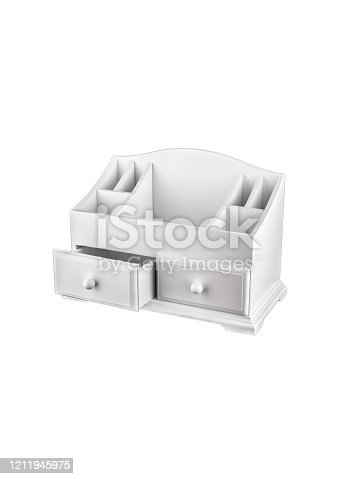 White wooden box for cosmetics. Casket for storing small items with pull-out shelves.