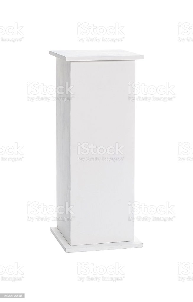 White wooden column on a white background isolated stock photo