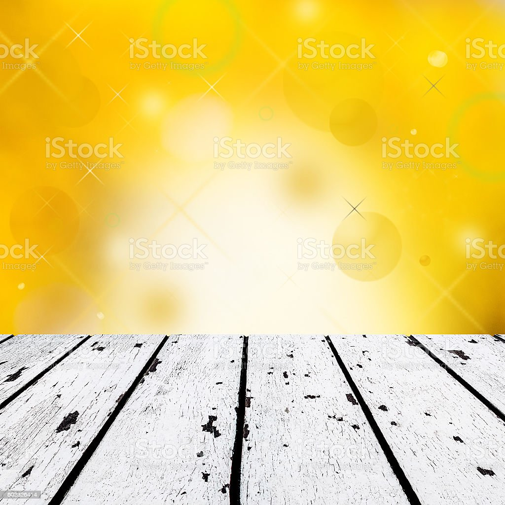 White Wooden Floor And Abstract Orange Background Stockfoto
