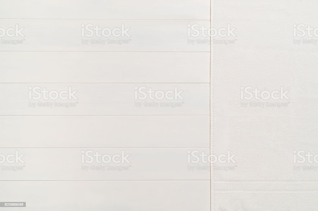 White, wooden floor and tovel texture. Background for concepts foto royalty-free