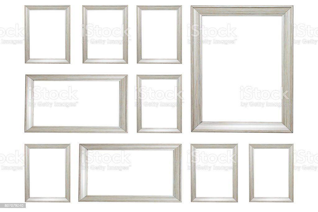 White wooden frame isolated white background stock photo