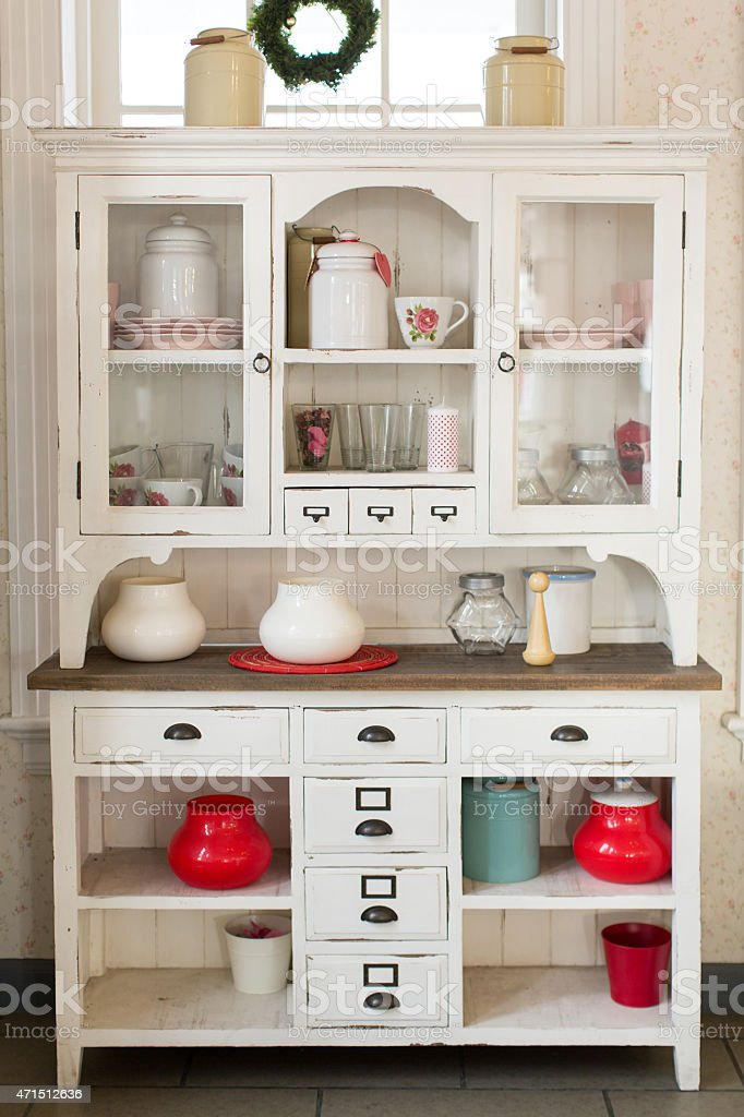 A White Wooden Hutch In A Kitchen Stock Photo Download Image Now Istock