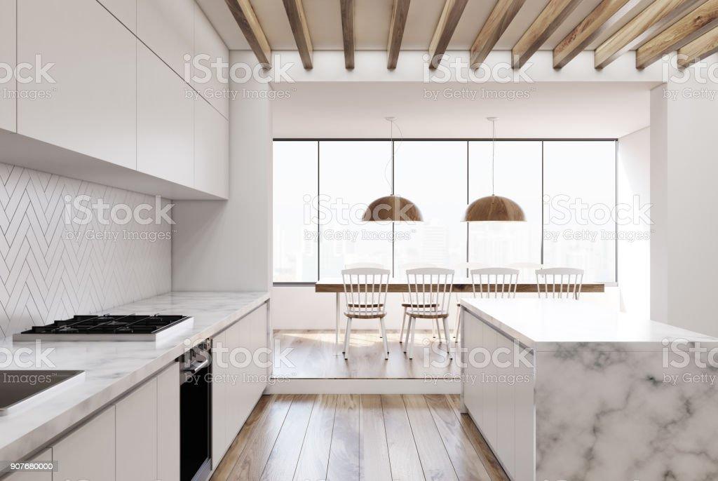 Weisse Kuche Aus Holz Marmor Bar Stockfoto Und Mehr Bilder Von Arbeitsplatte