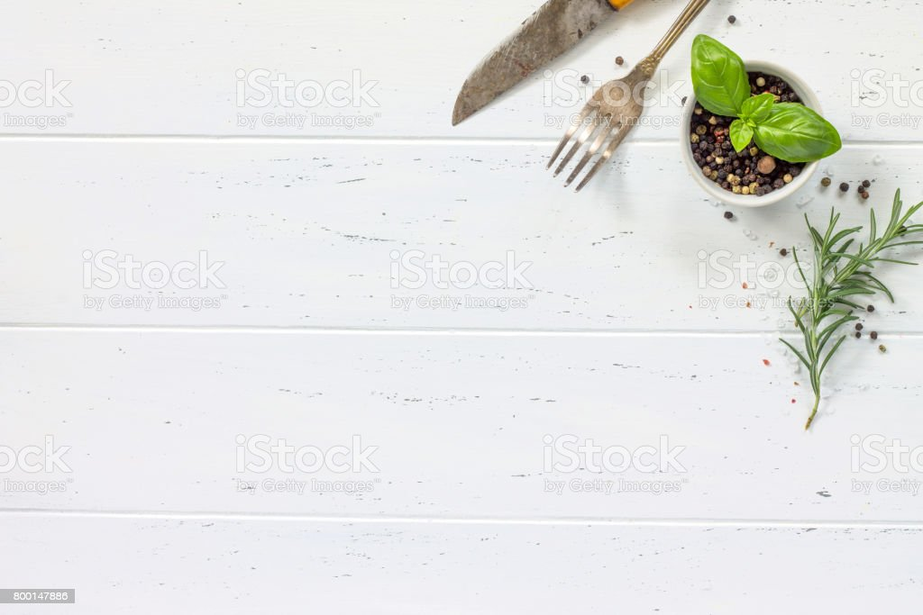 White Wooden Kitchen Table Background Cooking With Fresh Herbs And Spices Copy Space Top View Stock Photo - Download Image Now - IStock