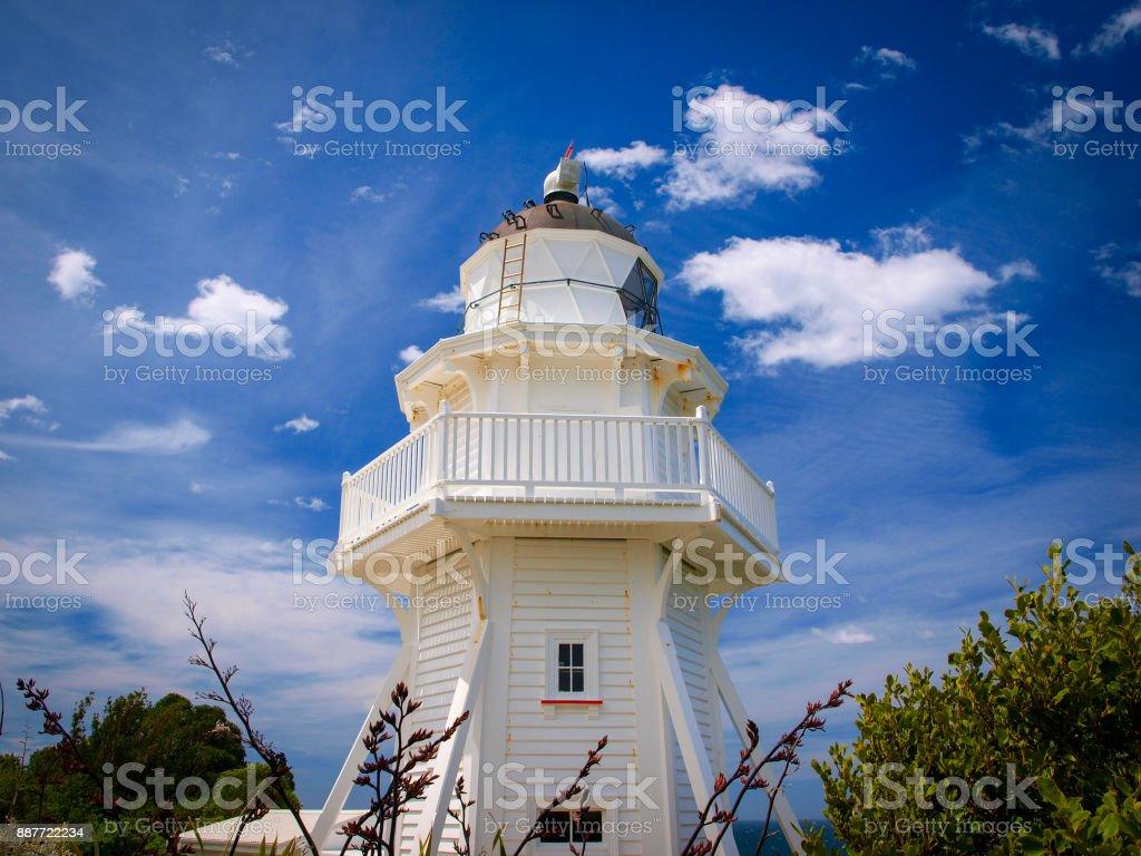 White Wooden lighthouse stock photo