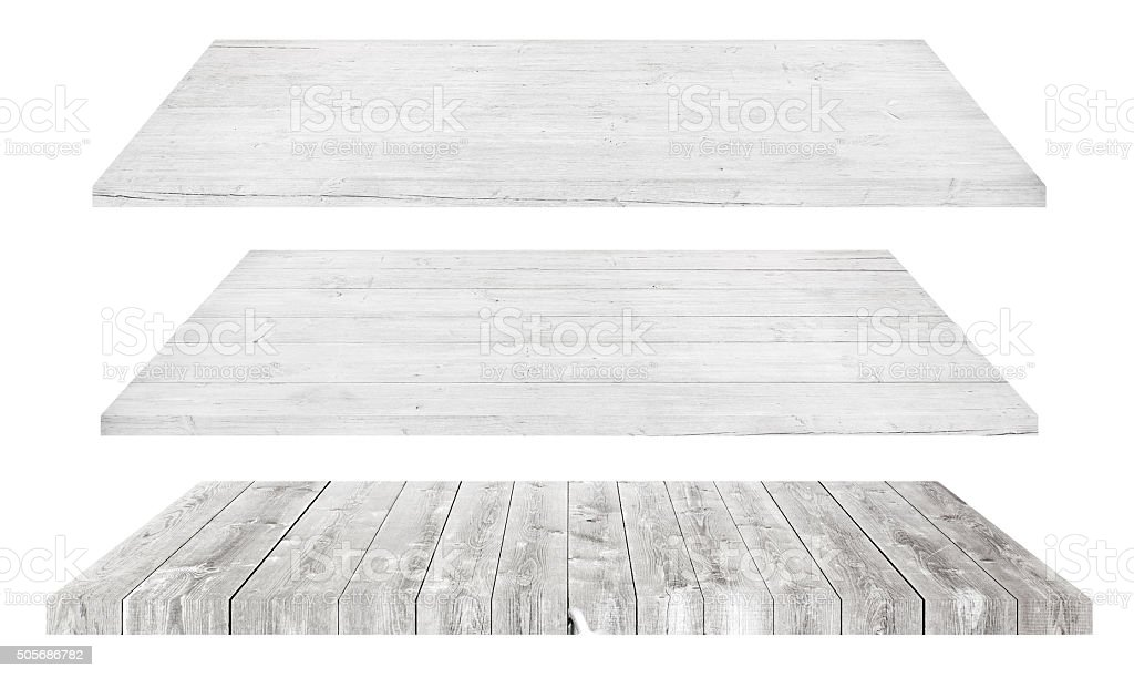 White wooden shelves or tabletop isolated on white stock photo