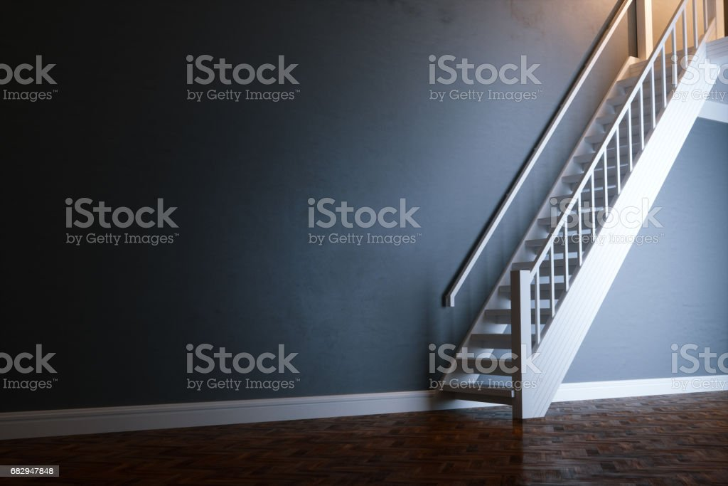 White wooden stairs in new black interior with wooden antique parquet 3D render royalty-free stock photo