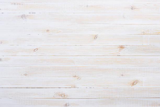 sfondo tavolo in legno bianco - flat lay foto e immagini stock