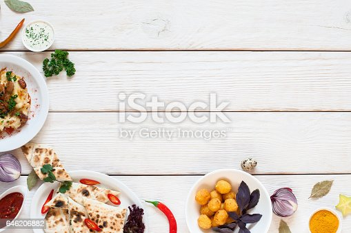 istock White wooden table with breakfast border flat lay 646206882