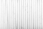 White wooden wall with rich texture, cracks, knots and nails. Weathered timber planks, messy and dust, background