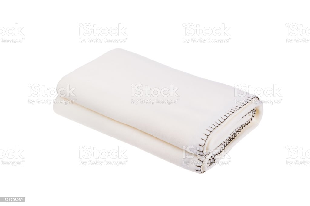 White wool blanket isolated on white background. stock photo
