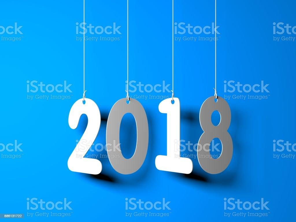 Weiß Wort 2018 auf blauem Hintergrund. Neujahr-Abbildung. 3D illustration – Foto