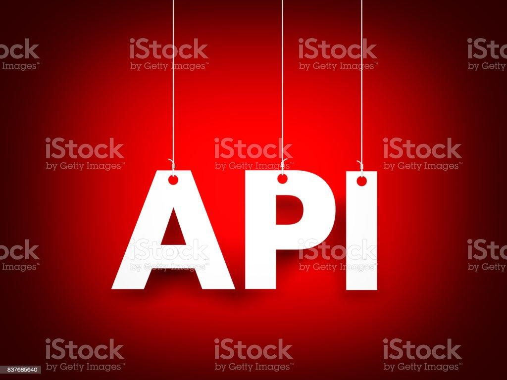 White word API on red background. New year illustration. 3d illustration stock photo