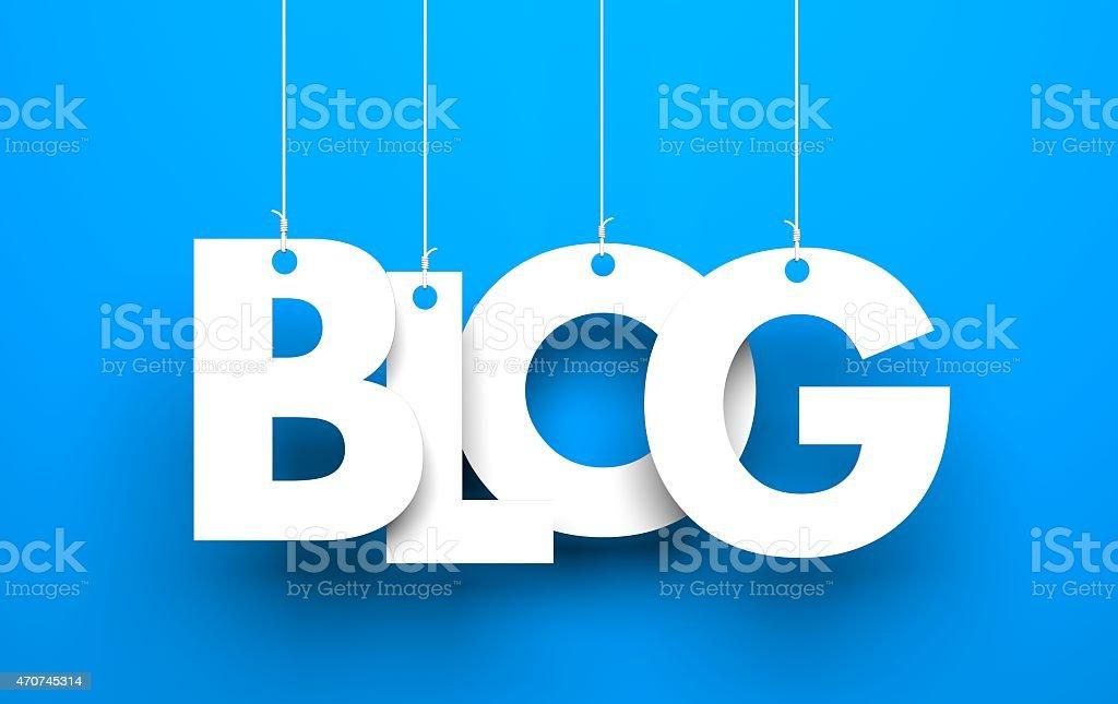 White Wort BLOG wird von Seile auf blauem Hintergrund – Foto