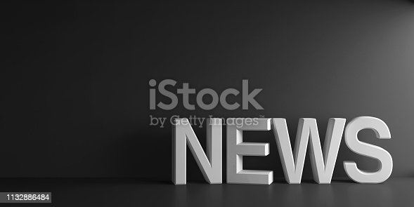 White word News on dark grey background, three-dimensional rendering, 3D illustration