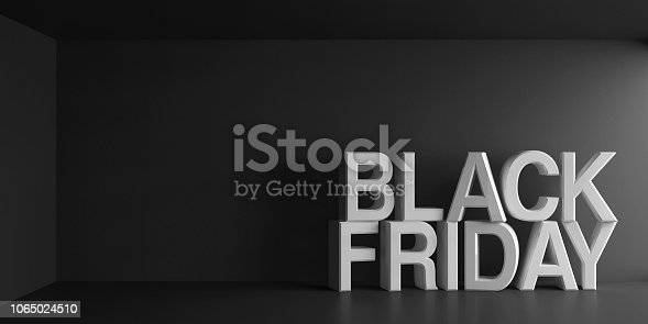 White words Black Friday on dark gray background, three-dimensional rendering, 3D illustration