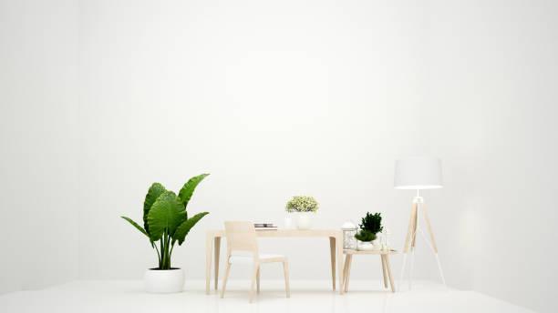 weißen raum arbeiten und wohnen bereich minimalistisches design für grafik - arbeitsplatz und leerraum hinzufügen nachricht - einfache innenarchitektur - 3d rendering - arbeitszimmer möbel stock-fotos und bilder