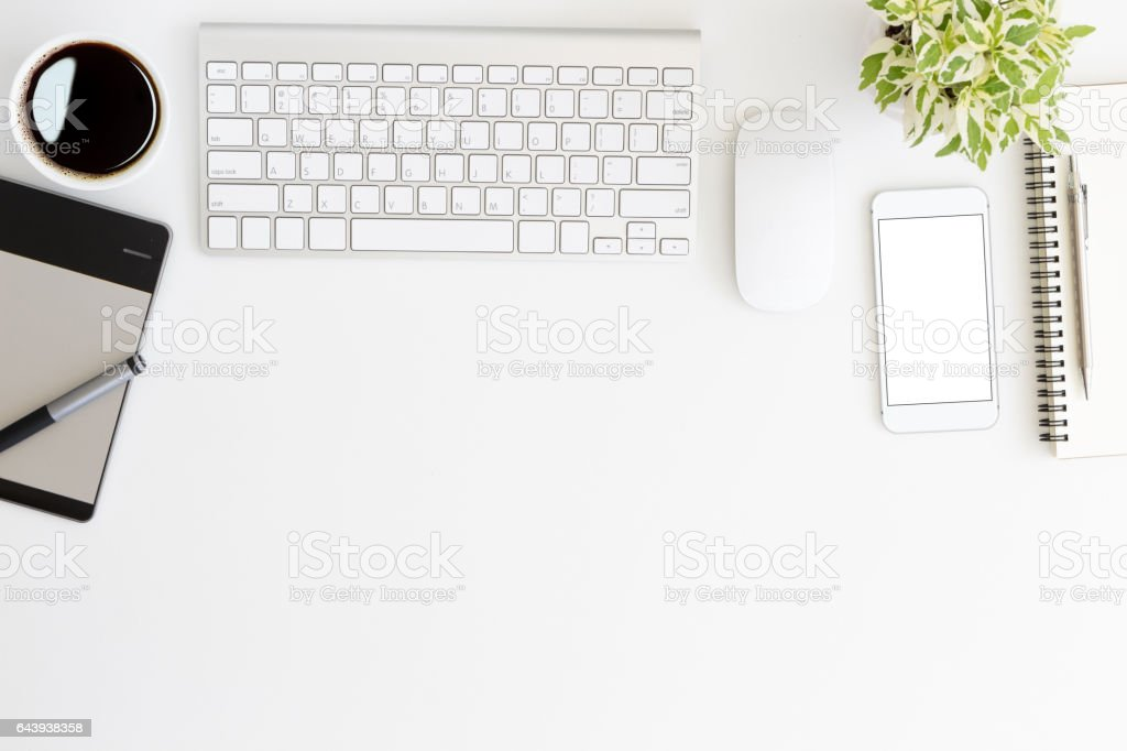 white workspace desk on top view stock photo