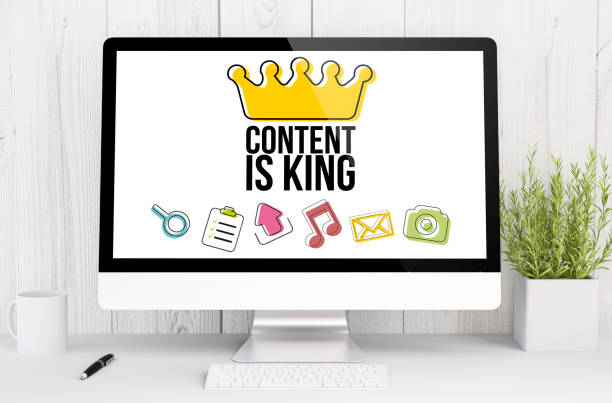 white workspace with content is king stock photo