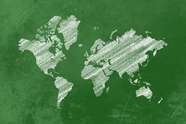 Weltkarte auf einer Tafel – Foto