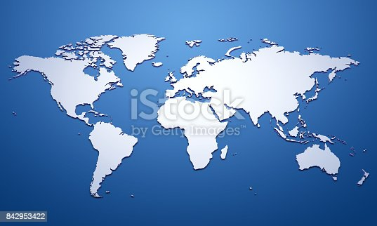 istock White world map on blue 842953422