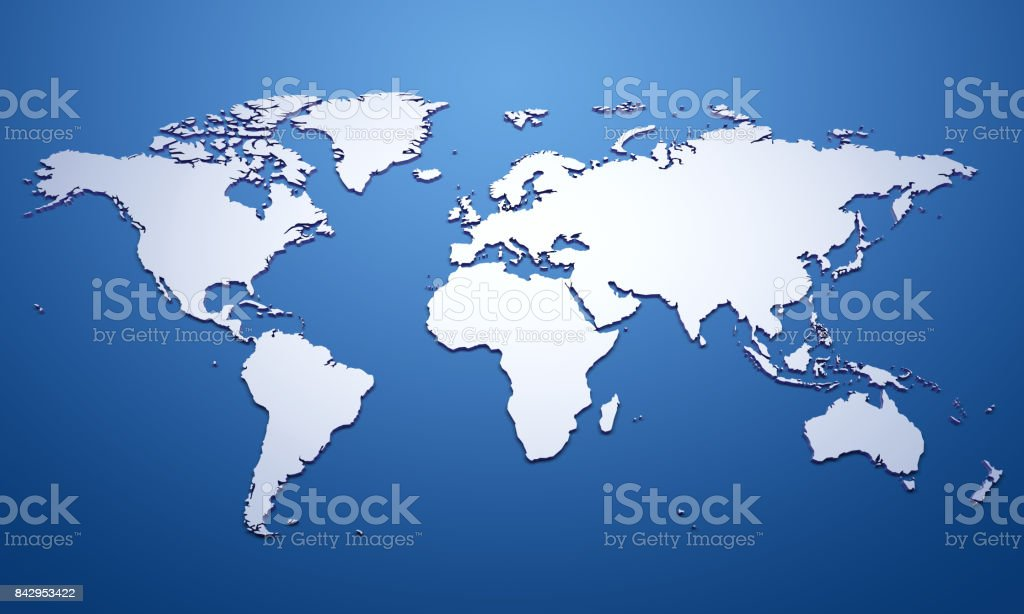 White world map on blue - foto stock