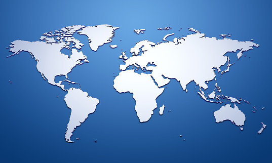 White World Map On Blue Stock Photo - Download Image Now ...