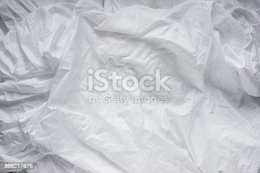 istock White wrinkle bed sheets for background 866217676