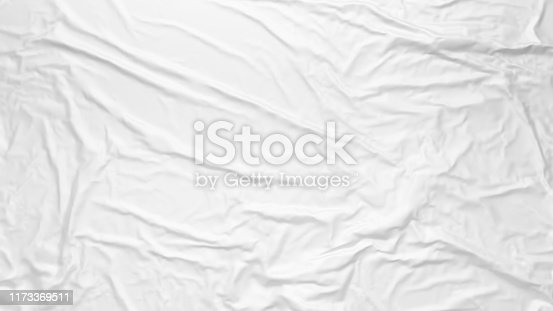 White wrinkled fabric texture. Paste poster template. Glued paper or fabric mockup