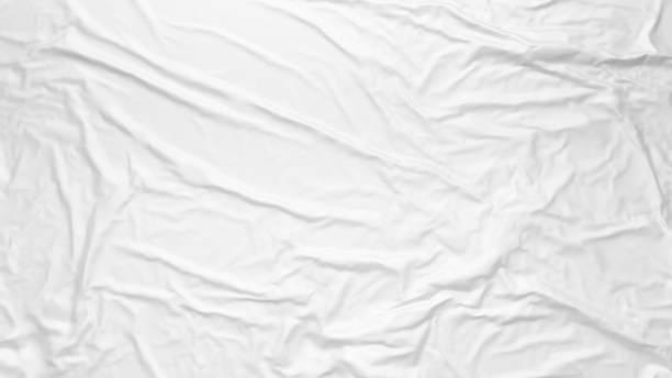 weiß faltige stoff textur. fügen sie poster-vorlage. geklebtes papier oder stoff mockup. - textilien stock-fotos und bilder