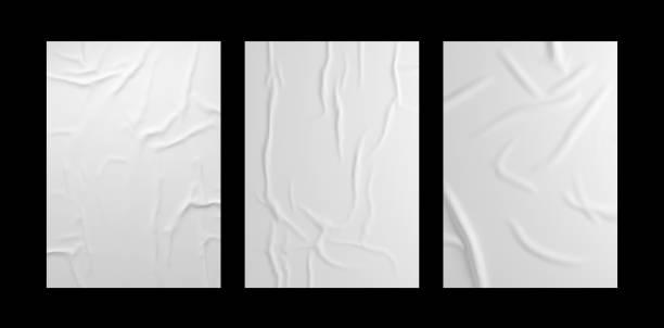 흰색 주름 포스터 템플릿 세트입니다. 고립 된 접착 된 종이 이랑. - 주름 뉴스 사진 이미지