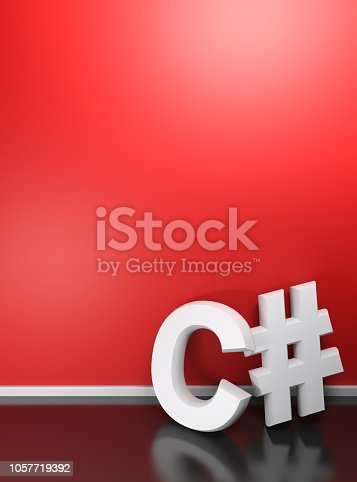 1058104820istockphoto C# white write at red wall - 3D rendering 1057719392