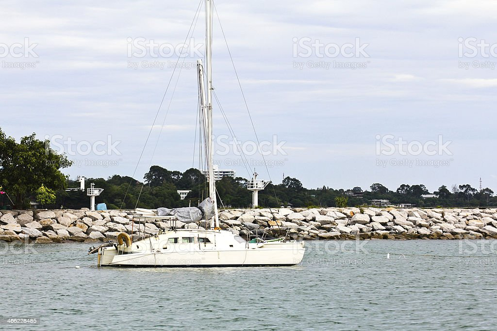 White yacht on sea royalty-free stock photo