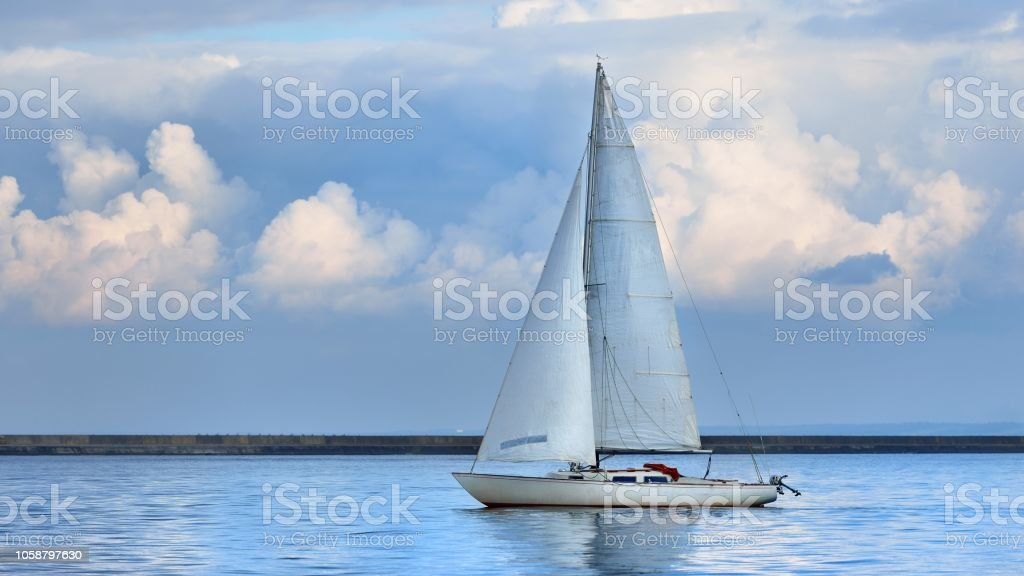 White Yacht Sails In The Baltic Sea Stock Photo - Download Image Now