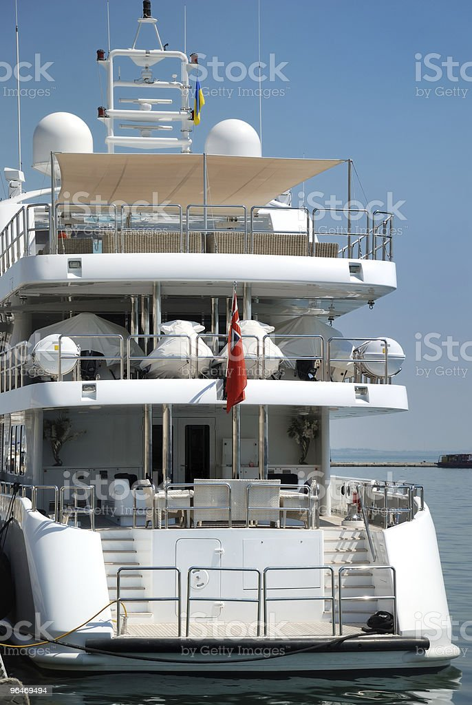 White yachts on an anchor royalty-free stock photo