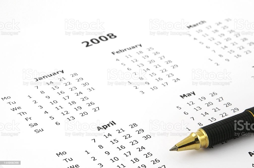 white yearly calendar page stock photo