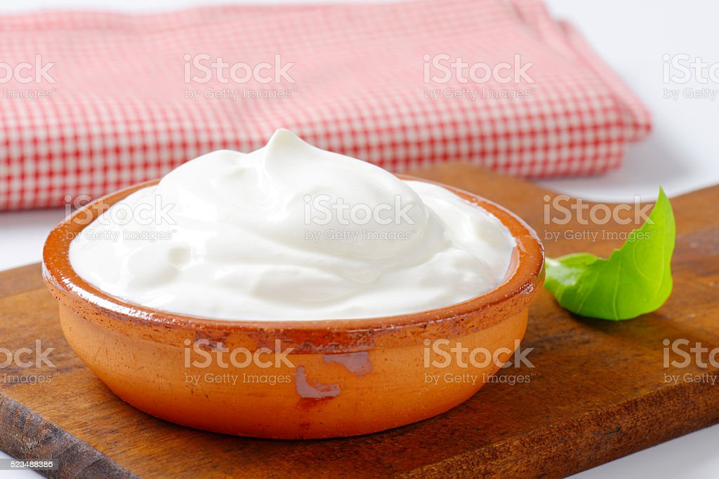 white yogurt stock photo