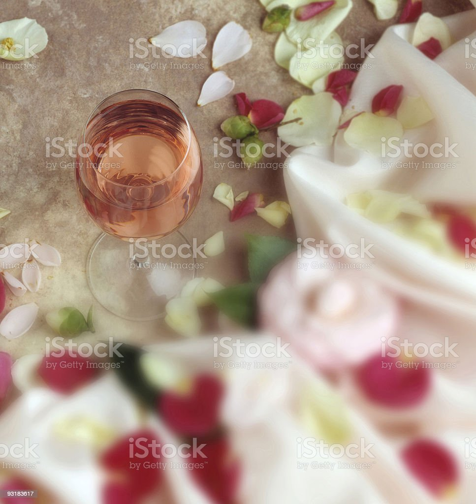 white zinfander and flowers stock photo