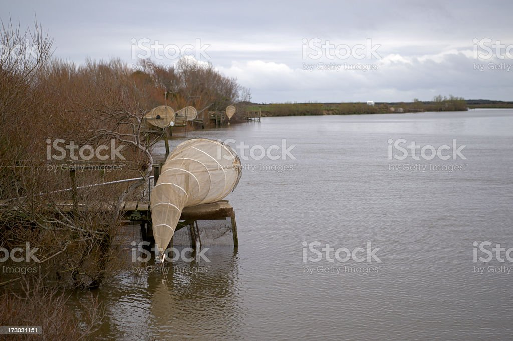 Whitebaiting Nets stock photo