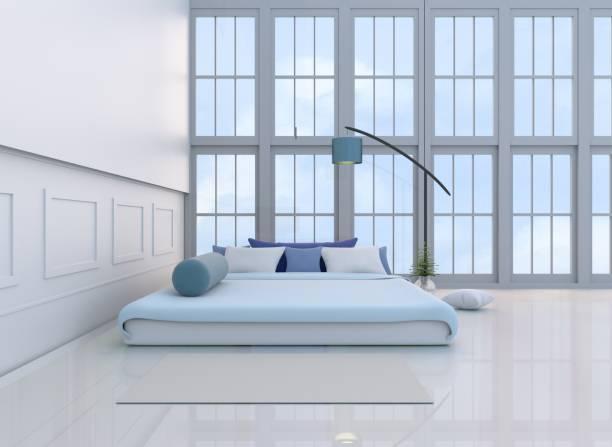 weiß-blaue schlafzimmer eingerichtet mit hellen blauen bett, baum in glasvase, kissen, fenster, teppich, blaue lampe, kropf, weißzement wand muster, weißen zement-boden ist. 3d-rendering - hellblaues zimmer stock-fotos und bilder