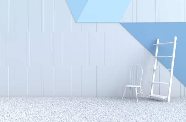 weiß-blaue zimmer dekor mit weiß-blauen wand, stuhl, grau weißen zement-boden, teppich. weihnachten tag und neues jahr. 3d render. - teppich hellblau stock-fotos und bilder