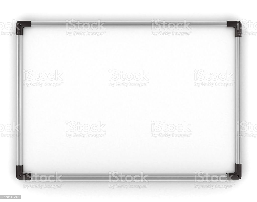 Whiteboard. Blank Whiteboard mounted on wall. Copy space. stock photo