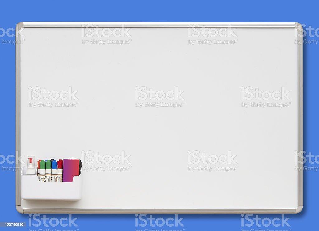 Whiteboard, isolated on blue stock photo