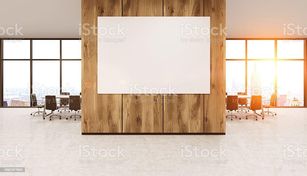 Whiteboard on wooden office wall royaltyfri bildbanksbilder