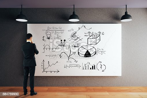 Businessman looking at whiteboard with business sketch. 3D Rendering