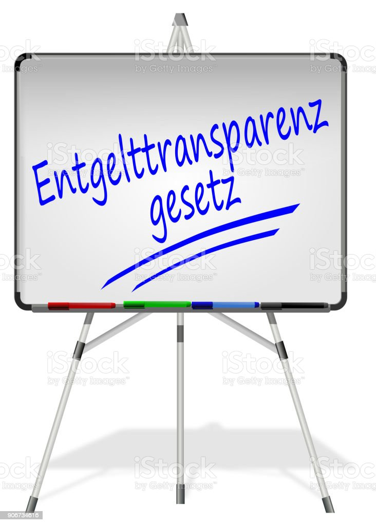 Whiteboard with Equal Payment Law- in german - 3D illustration stock photo