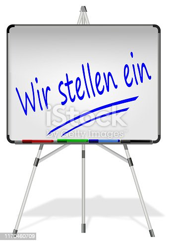 1153648747istockphoto Whiteboard with We are hiring –in german - 3D illustration 1170460709
