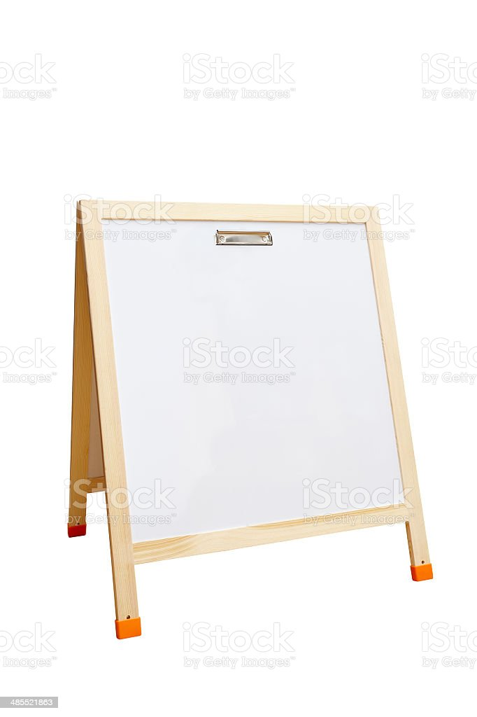 Whiteboard with wooden frame isolated, clipping paths royalty-free stock photo